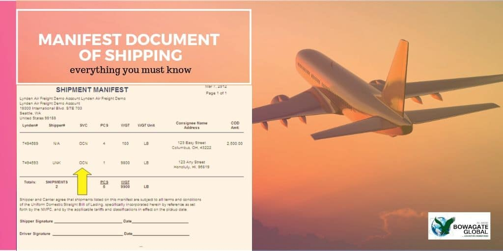 manifest document of shipping