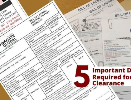 Documents Required for Customs Clearance